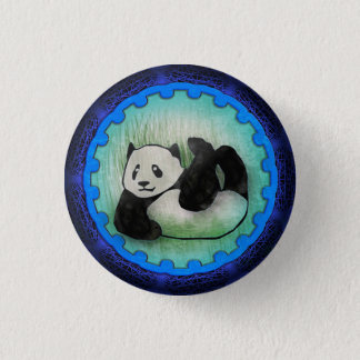Rolly Polly Friendly Panda Pal in Blue 1 Inch Round Button