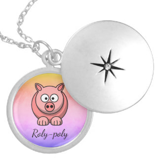 Roly-poly Pastel Pink Pig Pigling Piggywiggy Locket Necklace