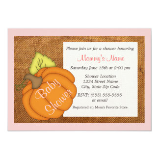 Roly Pumpkin Pink Baby Shower Invitation
