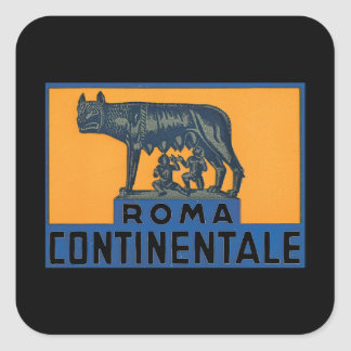 Roma Continentale_Vintage Travel Poster Artwork Square Sticker