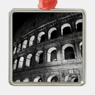 Roma Rome Italy Coliseum Colosseum Silver-Colored Square Ornament