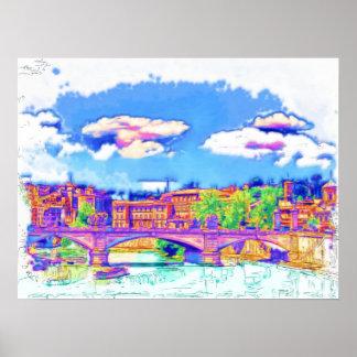 Roma  - St Angelo Bridge Poster
