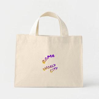 Roma world city, colorful text art mini tote bag
