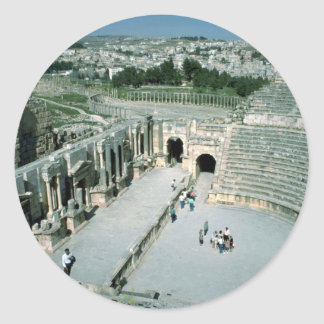 Roman amphitheater with oval piazza behind, Jarash Stickers