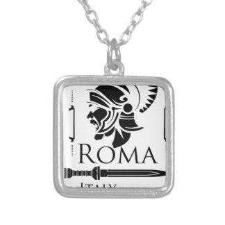 Roman Army - Legionary with Gladio Silver Plated Necklace