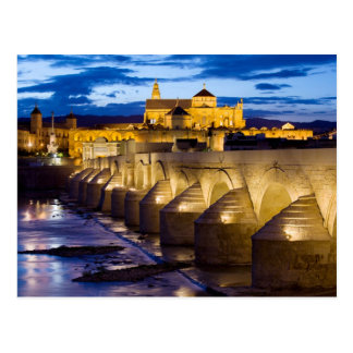 Roman Bridge and Mezquita Cathedral in Cordoba Postcard