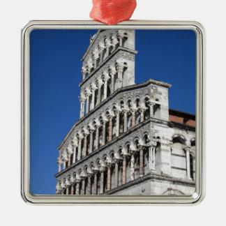 Roman Catholic basilica church in Lucca Silver-Colored Square Ornament