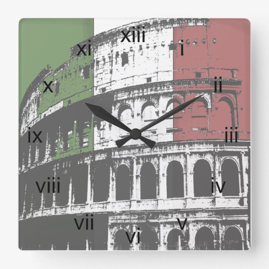 Roman Coliseum And Flag Square Wall Clock