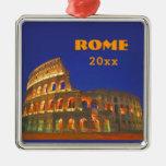 Roman Colosseum Silver-Colored Square Ornament