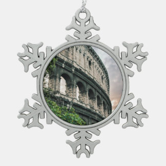 Roman Colosseum Snowflake Pewter Christmas Ornament