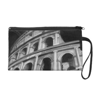 Roman Colosseum with Architectural Drawings Wristlet Clutch