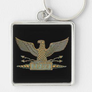 Roman Eagle Copper Silver-Colored Square Keychain