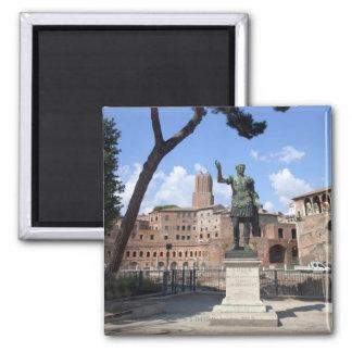 Roman emperor bronze statue at forum square magnet