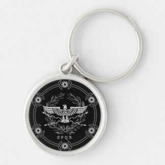 Roman Empire Emblem Silver-Colored Round Keychain