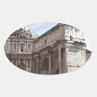 Roman Forum in Rome, Italy Oval Sticker