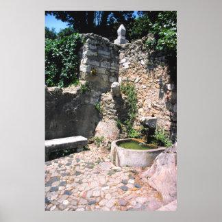 Roman fountain, Castello St. George, Alfama, Portu Poster