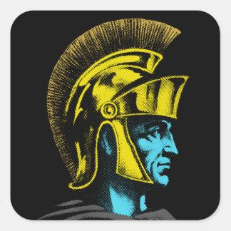 Roman Gladiator Pop Art Portrait Square Sticker