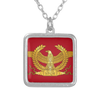 Roman Golden Eagle on Red Silver Plated Necklace