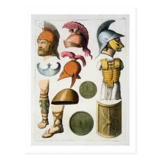 Roman military equipment, from 'Le Costume Ancien Postcard