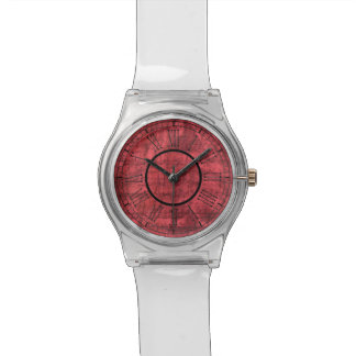 Roman Numbers on Red Textured Background Watch
