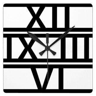 Roman Numeral Deco Square Wall Clock