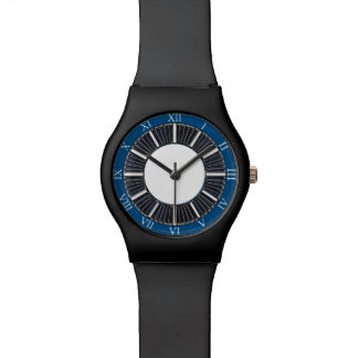Roman Numerals Blue and White Watch Face