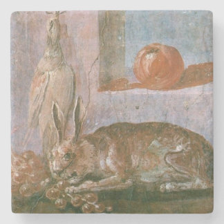 Roman Painting of Rabbit Eating Grapes Stone Coaster