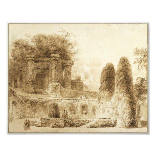 Roman Park with Fountain by Jean-Honore Fragonard Photo Art