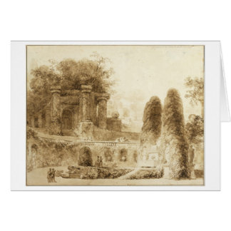 Roman Park with Fountain Jean-Honore Fragonard Card