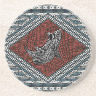Roman Rhino Mosaic Beverage Coasters