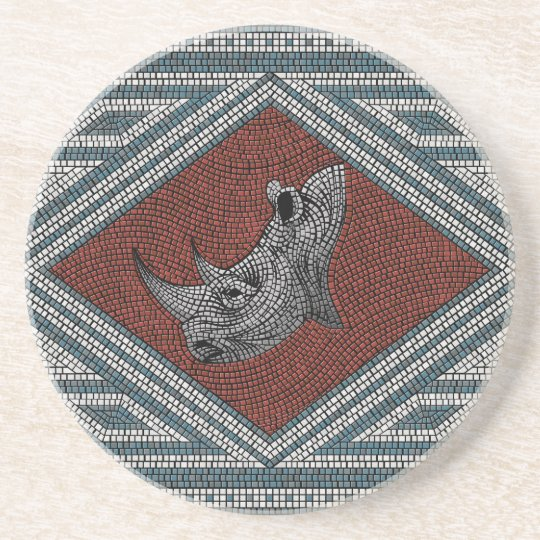 Roman Rhino Mosaic Coaster