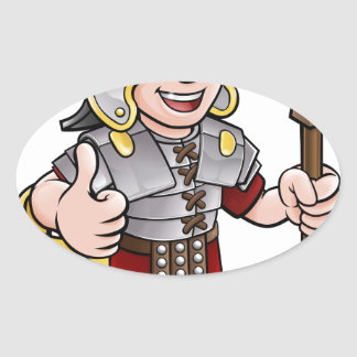 Roman Soldier Cartoon Character Oval Sticker