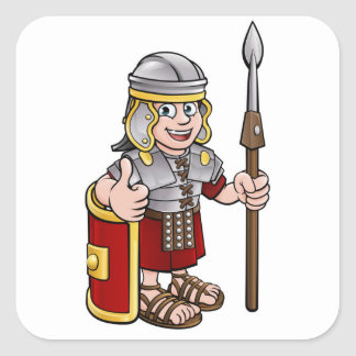 Roman Soldier Cartoon Character Square Sticker