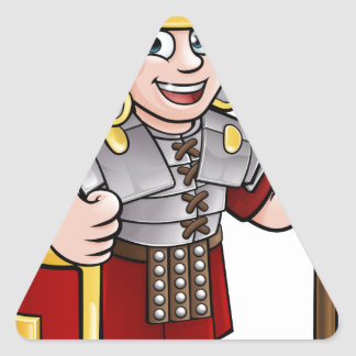 Roman Soldier Cartoon Character Triangle Sticker