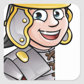 Roman Soldier Pointing Square Sticker