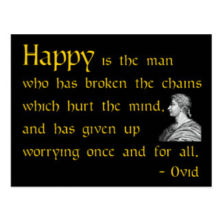 Roman wisdom quote on Worrying postcard
