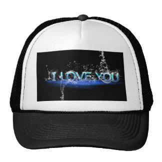 romance-624252 LOVE TYPOGRAPHY BLACK BLUE ICED FON Hat
