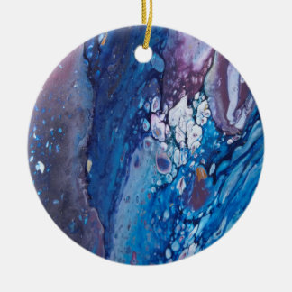 Romance Acrylic Pour Ceramic Ornament
