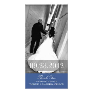 ROMANCE IN NAVY BLUE   WEDDING THANK YOU CARD PHOTO CARD TEMPLATE