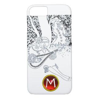 ROMANCE /ROMANTIC LOVERS BLACK WHITE RED MONOGRAM iPhone 8/7 CASE