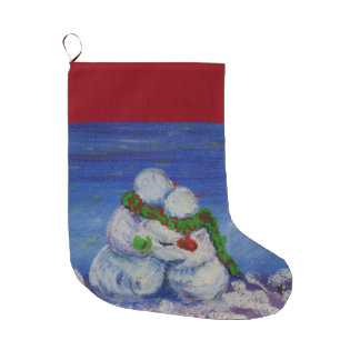 Romancing Snowman Christmas Stocking Large Christmas Stocking