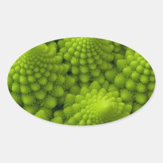 Romanesco Broccoli Fractal Vegetable Oval Sticker