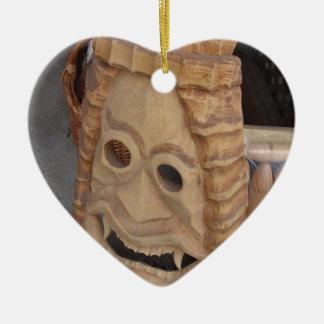 Romania, Bran, Dracula mask Ceramic Heart Ornament
