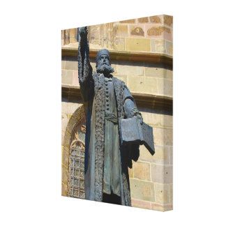 Romania, Brasov, Statue of Martin Luther Gallery Wrapped Canvas