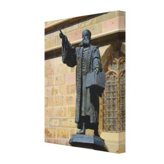 Romania Brasov Statue of Martin Luther Gallery Wrap Canvas