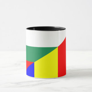 romania bulgaria flag country half symbol mug