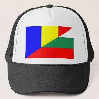 romania bulgaria flag country half symbol trucker hat