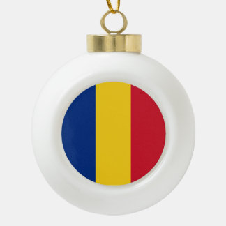 Romania Flag Ceramic Ball Christmas Ornament