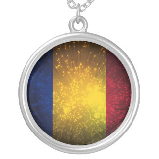 Romania Flag Firework Silver Plated Necklace