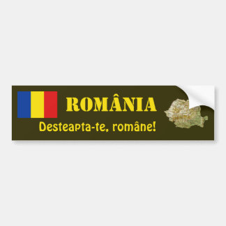Romania Flag + Map Bumper Sticker